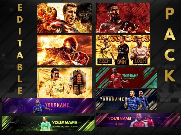 EDITABLE PACK! EDITABLE THUMBNAILS,BANNERS AND HEADERS! ALL IN ONE