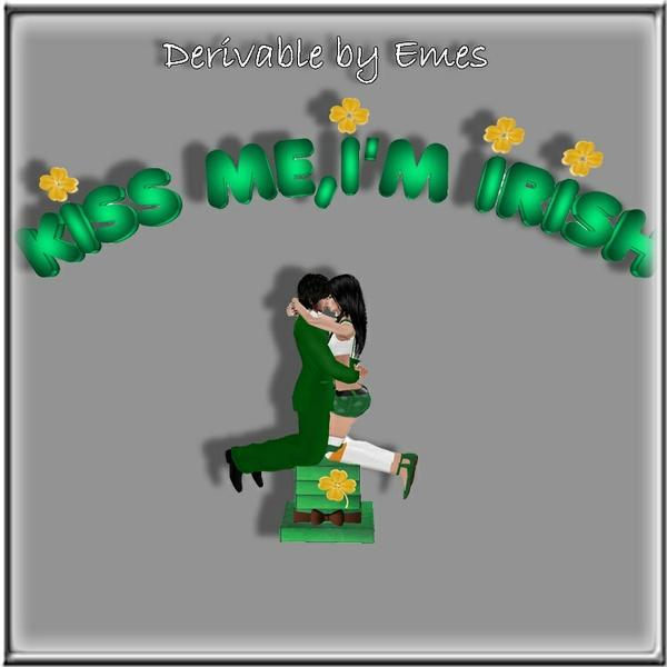 KISS ME,I'M IRISH SIGN AND CHAIR MESH (1 COUPLE POSE)