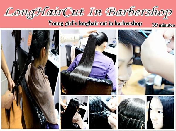 Young girl's longhair cut in barbershop