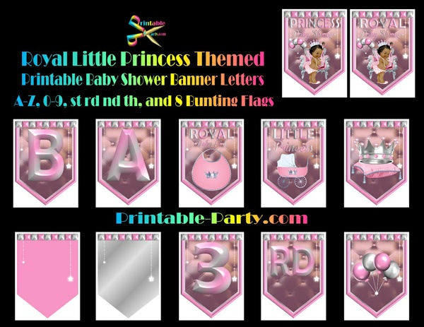 Royal Little Princess Pink Themed Printable Banner Letters