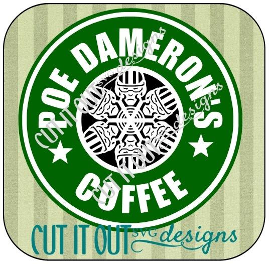Star Wars: The Force Awakens Poe Dameron Snowflake Style Starbucks Coffee Labels SVG