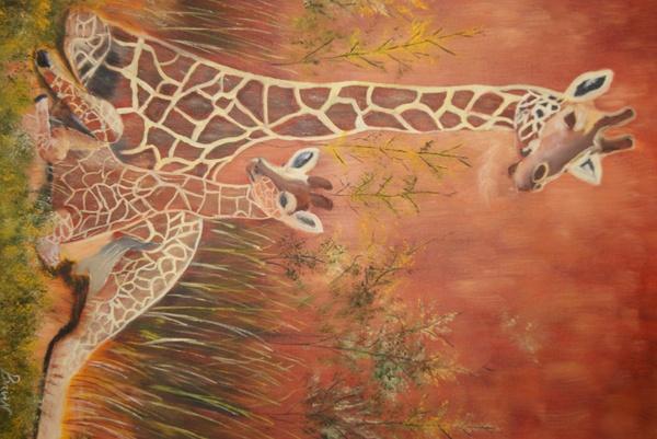 Photo De giraffe sur peinture a l'huile