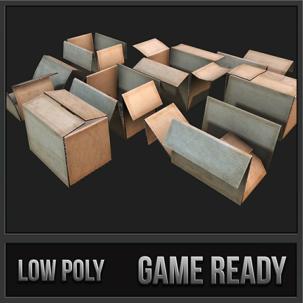 Cardboard boxes Debris | 3D Low Poly Models