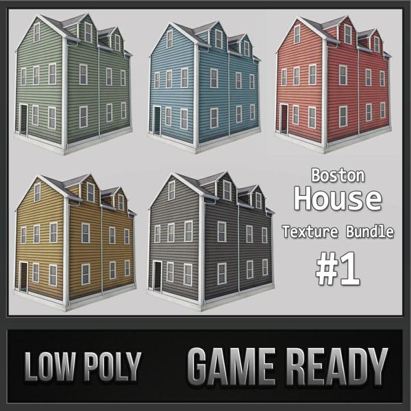 Boston House Bundle 01 | 3D Low Poly Models