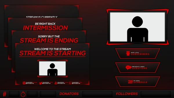 Red and Black Twitch Stream Rebrand and Overlay Photoshop Template Pack