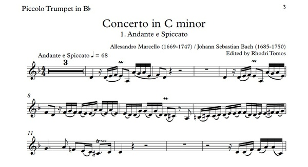 Marcello / Bach BWV974 Concerto In C Minor. Accompaniment Mp3 & Solo Pdf Sheet Music.
