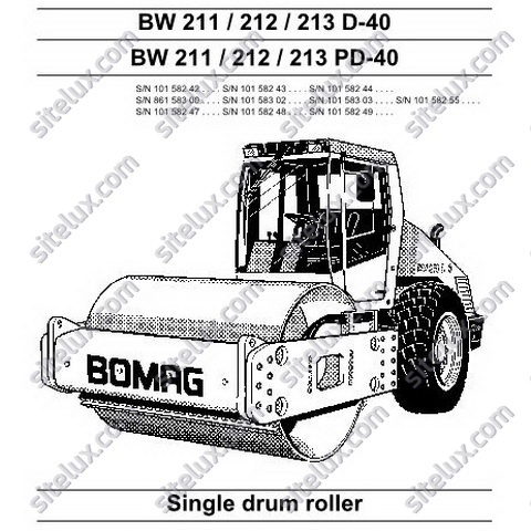 Bomag BW 211/212/213 D/PD-40 Single Drum Roller Service Manual