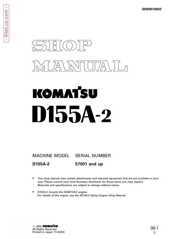 Komatsu D155A-2 Bulldozer (57001 and up) Shop Manual- SEBM018602