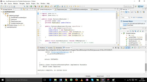 Java program that simulate the actions of a preprocessor