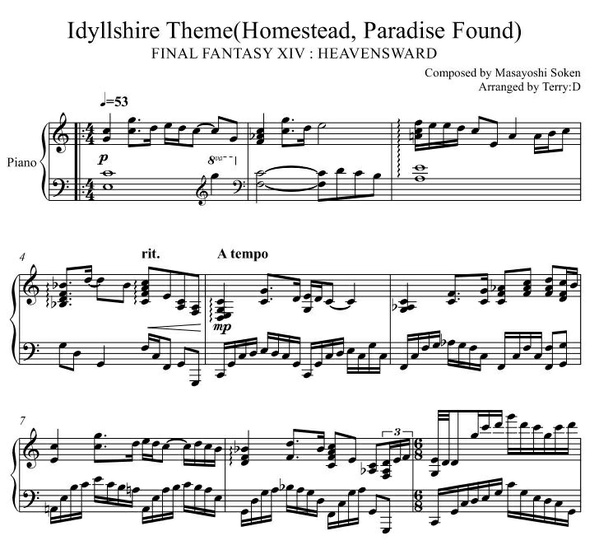 FINAL FANTASY XIV - Idyllshire Theme (easy C major key) Arr.by Terry:D