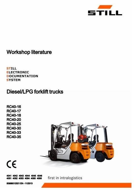 Still Truck RC40-16, RC40-17, RC40-18, RC40-20, RC40-25, RC40-30, RC40-33, RC40-35 Service Manual