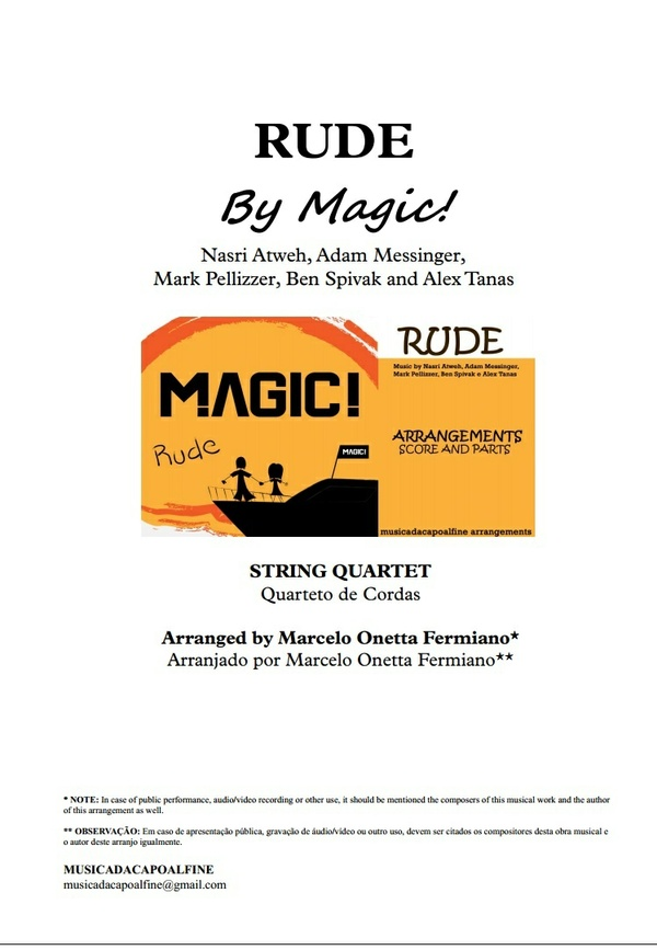 Db Major - RUDE - MAGIC! - String Quartet Sheet Music - Score and parts.pdf