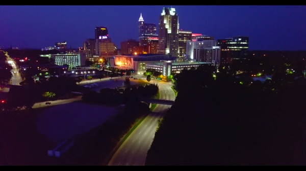 Raleigh Downtown Drone Stock Night Time 4k