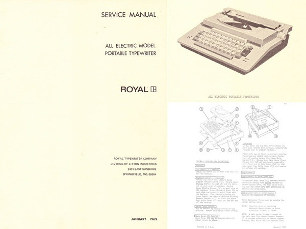 Royal All-Electric Typewriter Service Repair Adjustment Manual