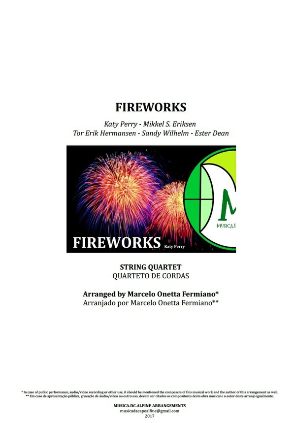 Fireworks | Katy Perry | String Quartet | Score and Parts
