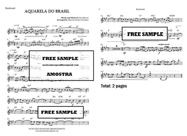 AQUARELA DO BRASIL - Ary Barroso - Keyboard - Teclado Partitura Sheet Music