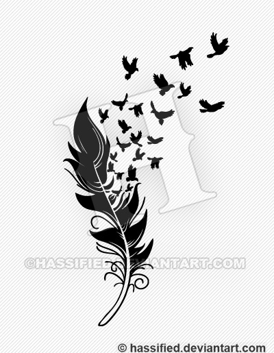 Feather into Birds - printable, vector, svg, art