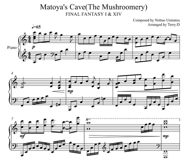 """Matoya's Cave"" for piano solo(Arr.by Terry:D) from FINAL FANTASY XIV & I"