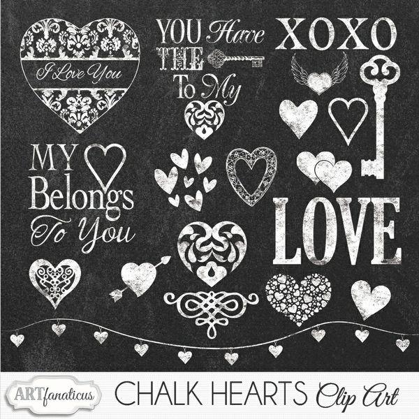 CHALK HEARTS CLIPART