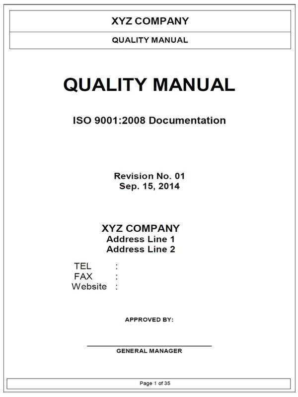 ISO9001 Quality Manual Template