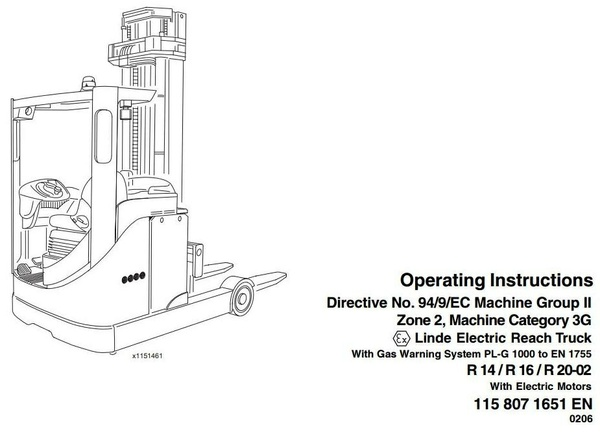 Linde Electric Reach Truck Type 115-02 Ex with PL-G1000: R14, R16, R20 Operating Instructions