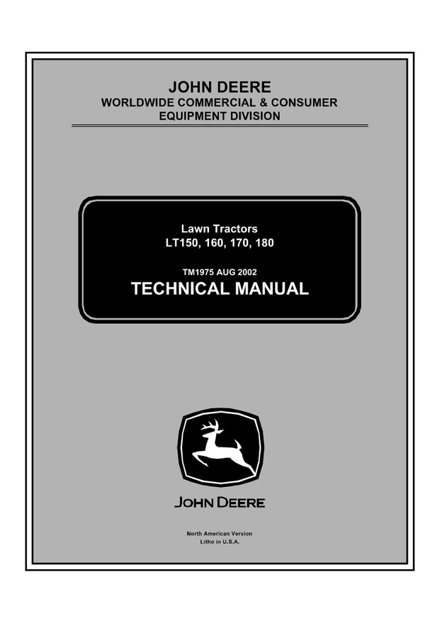 PDF DOWNLOAD JOHN DEERE LT150 LT160 LT170 LT180 LAWN GARDEN TRACTOR REPAIR SERVICE MANUAL