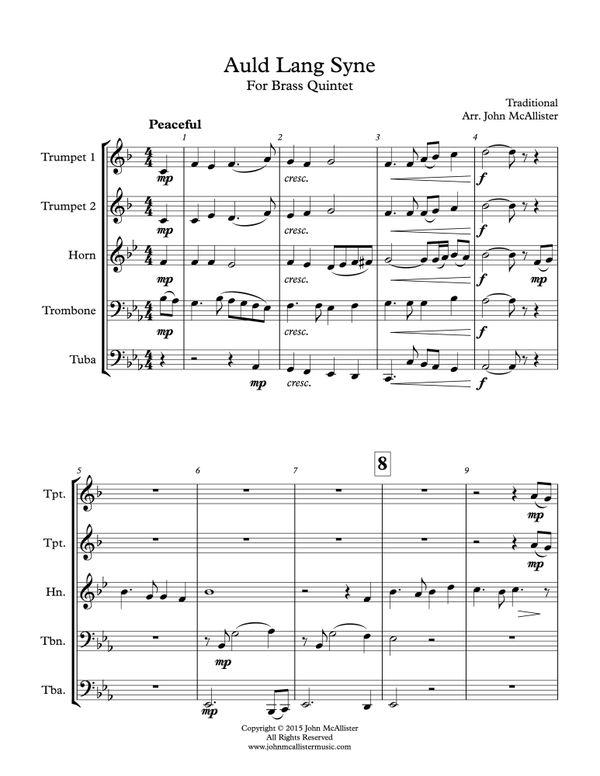 Auld Lang Syne - Brass Quintet