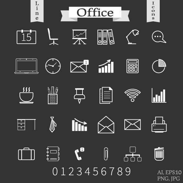 30 Outline Office Icons