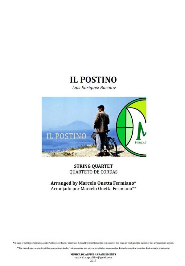 Il Postino | O Carteiro e o Poeta | Luis Enríquez Bacalov | Quarteto de Cordas | Partitura