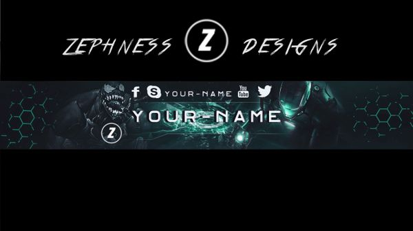 Youtube Banner Template by Zephness