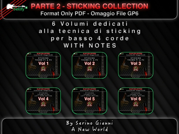 RACCOLTA 2 - STICKING COLLECTION WITH NOTES - FOR BASS 4 STRING - FORMAT PDF OMAGGIO FILE GP6