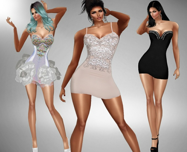 3 short dresses pack