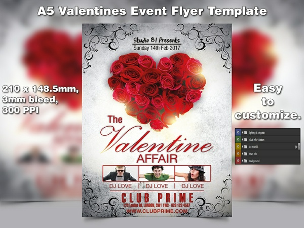 Valentines Event Flyer Template (A5, PSD)