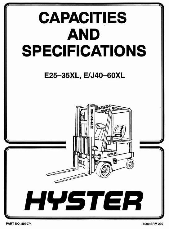 Hyster Forklift Truck Type C114: E1.25XL (E25XL), E1.50XL (E30XL), E1.75XL (E35XL) Workshop Manual