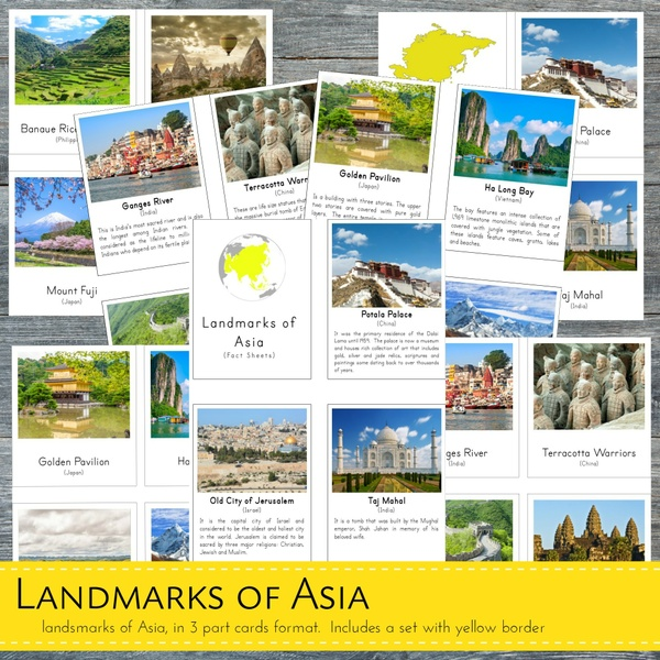 Montessori Landmarks of Asia 3 Part Cards and Fact Cards