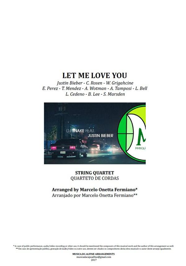 Let Me Love You | Justin Bieber | Quarteto de Cordas | Partitura Completa | Download