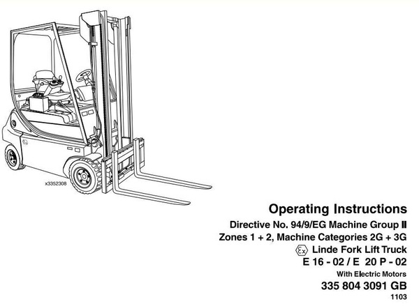 Linde Electric Forklift Truck 335-02 Series Explosion Protected Operating Manual (User Manual)