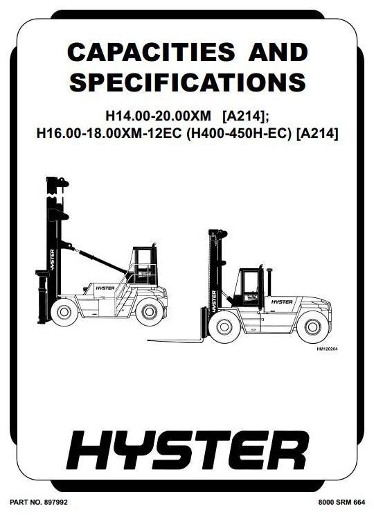 Hyster Truck Type A214: H14.00XM-H20.00XM, H360H-H450H, H400-EC5/6 Workshop Manual