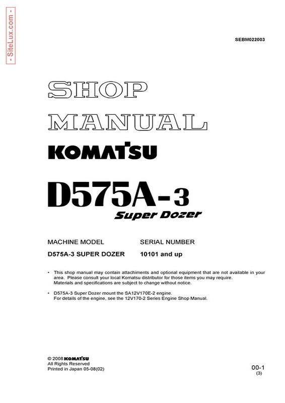Komatsu D575A-3 Super Dozer (10101 and up) Shop Manual - SEBM022003