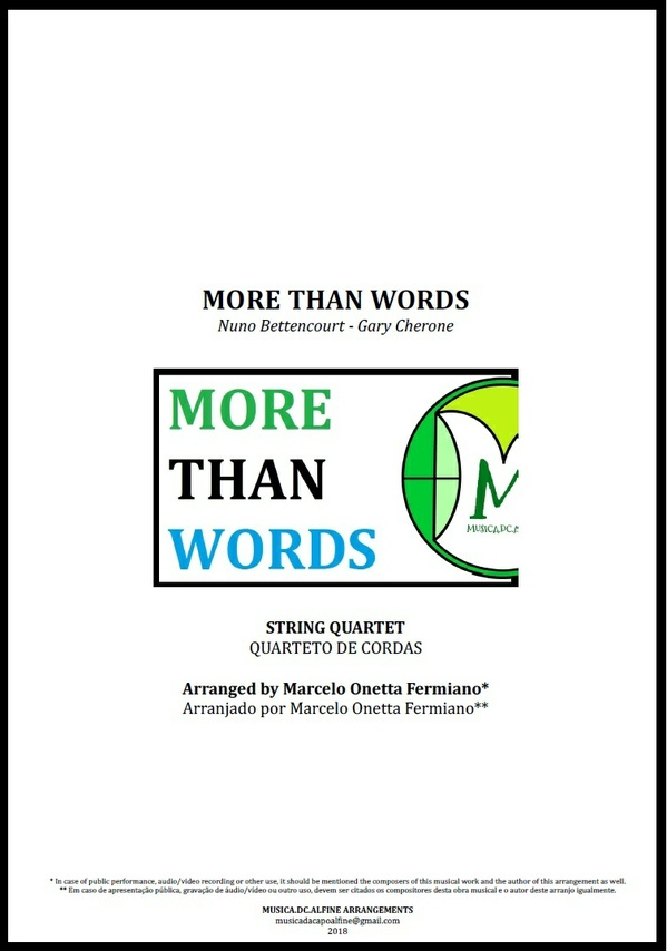 More Than Words | Extreme | Quarteto de Cordas | Partitura Completa Donwload