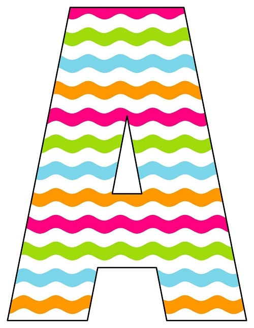8X10.5  Inch Rainbow Chevron Printable Letters A-Z, 0-9