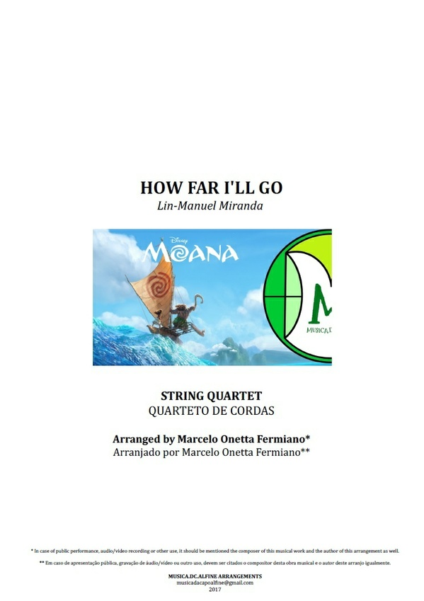 How Far I'll Go | From Moana | String Quartet | Score and Parts Download