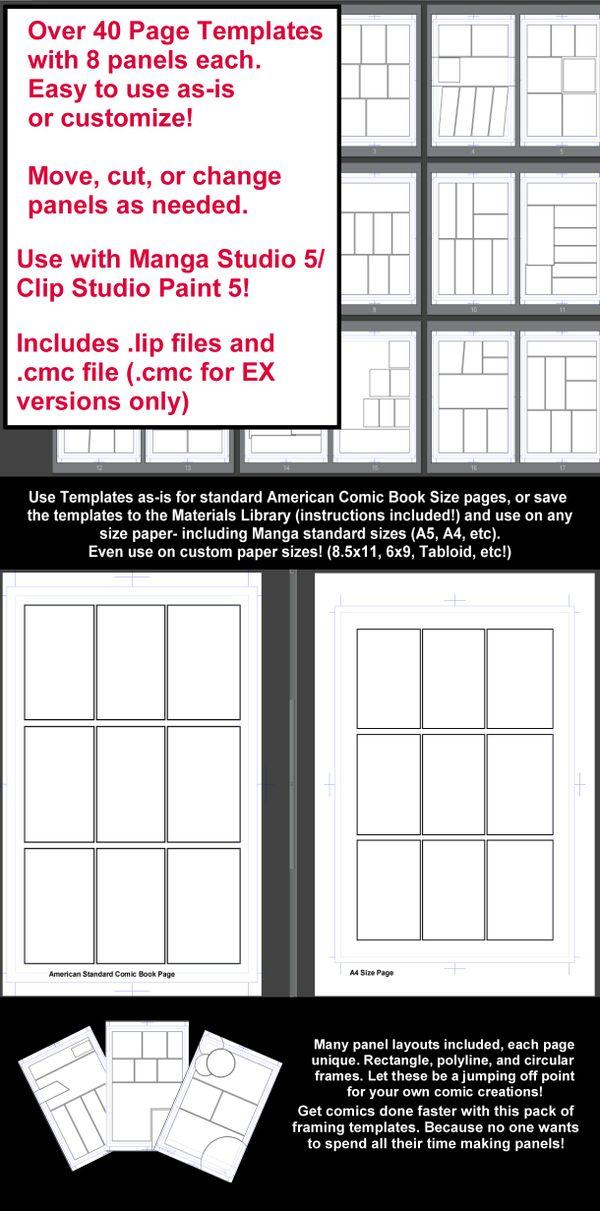 Manga Studio 5 Page Templates - 8 Panel Layouts