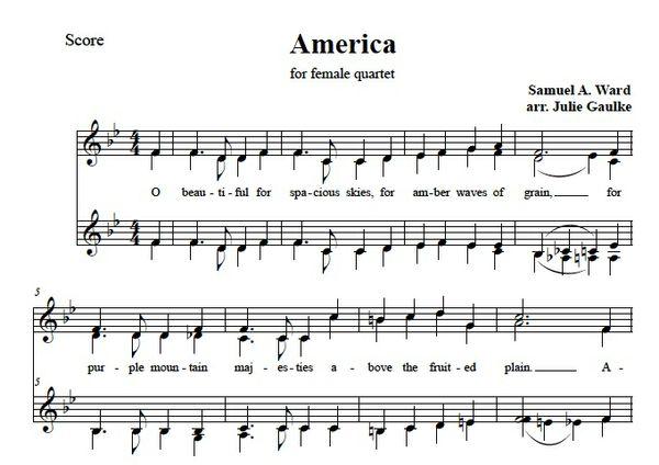 America (The Beautiful) original arrangement SSAA (simple)