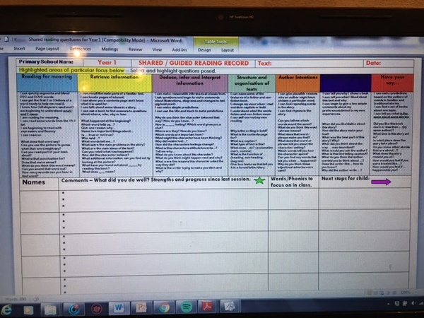 SHARED READING QUESTION SHEET FOR YEAR 1