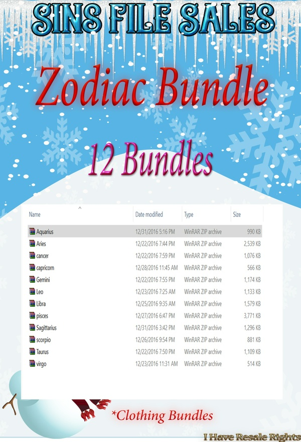 *Sale* Zodiac Clothing Bundles ( 12 Bundles Included)