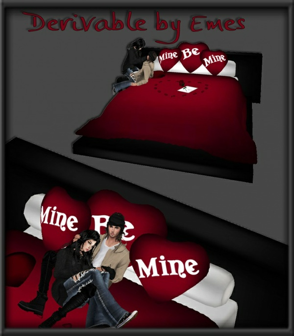 VALENTINE BED 2 MESHES (2 COUPLE POSES AND POSELESS)