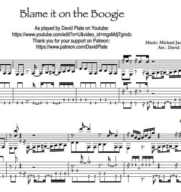 BLAME IT ON THE BOOGIE - Fingerstyle Arrangement (TABs + Notation)