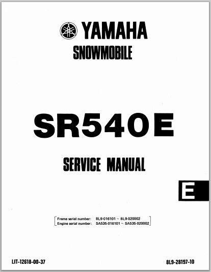 1981-1984 Yamaha SR540 G / H / E Snowmoblile Workshop Service Repair Manual Download