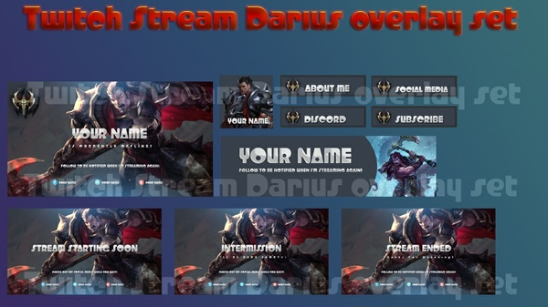 Twitch Stream Darius overlay set